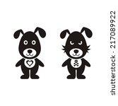 black vector lovely and bad dog ...   Shutterstock .eps vector #217089922
