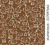 cats white seamless pattern | Shutterstock . vector #217097662