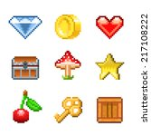 pixel objects for games icons... | Shutterstock .eps vector #217108222
