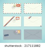 vector flat modern airmail...   Shutterstock .eps vector #217111882
