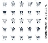 shopping cart icons black e... | Shutterstock .eps vector #217113376