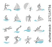 water sports icons set with... | Shutterstock .eps vector #217114756