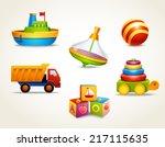 decorative children toys set of ... | Shutterstock .eps vector #217115635