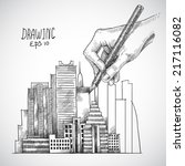 hand drawing building with... | Shutterstock .eps vector #217116082