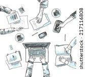 business meeting concept top... | Shutterstock .eps vector #217116808