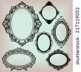 set of black round vintage... | Shutterstock .eps vector #217119052
