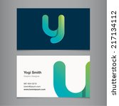 business card with alphabet... | Shutterstock .eps vector #217134112
