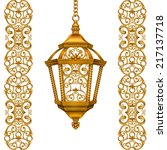 gold christmas lantern...   Shutterstock . vector #217137718