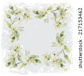 painting lilies in grunge frame | Shutterstock . vector #217153462