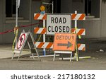 Road Closed And Detour Signs A...