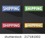"Flat word ""SHIPPING"" with long shadow in different colors and fonts. Vector illustration"