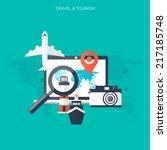 world travel concept background.... | Shutterstock .eps vector #217185748