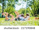 young happy family lying in... | Shutterstock . vector #217190848