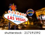 Stock photo las vegas sign and strip street background 217191592