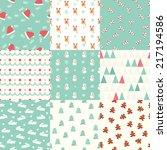 seamless christmas pattern set | Shutterstock .eps vector #217194586