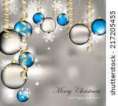 christmas greeting card with... | Shutterstock .eps vector #217205455