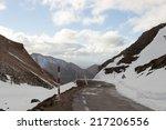 Mountain Road In Winter  Snowy...