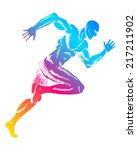 colorful figure of a man running | Shutterstock .eps vector #217211902