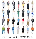 group of people standing in a... | Shutterstock . vector #217222516