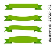 green ribbon set | Shutterstock .eps vector #217234042