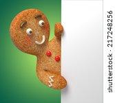 Gingerbread Man Holding White...