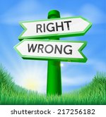 Right Or Wrong Sign In A Sunny...
