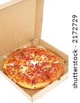 take away pizza on white...