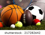 sports equipment on grass  | Shutterstock . vector #217282642