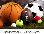 sports equipment on grass  | Shutterstock . vector #217282696