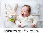 adorable sleepy newborn baby... | Shutterstock . vector #217294876