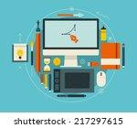flat design vector illustration ... | Shutterstock .eps vector #217297615