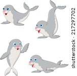 cute baby seal cartoon | Shutterstock .eps vector #217297702