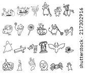 vector sketch halloween cartoon ... | Shutterstock .eps vector #217302916
