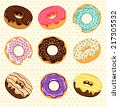 set of cute sweet colorful... | Shutterstock .eps vector #217305532