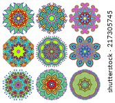 circle lace ornament  round... | Shutterstock .eps vector #217305745