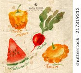 Harvest. Watercolor. Vector...