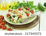 baked zucchini with chicken ... | Shutterstock . vector #217345372
