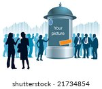 People are standing next to an advertising column, a graph in the background, conceptual business illustration. - stock vector
