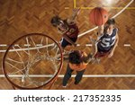 high angle view of three young... | Shutterstock . vector #217352335