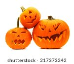 Stock photo group of varied halloween jack o lanterns isolated on white 217373242