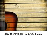 Acoustic Guitar Art On Wooden...