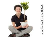 young woman with indoor plants...   Shutterstock . vector #21740461