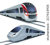 modern high speed trains ... | Shutterstock .eps vector #217415935