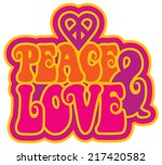 peace   love retro styled text... | Shutterstock .eps vector #217420582