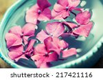 bowl of water with pink... | Shutterstock . vector #217421116