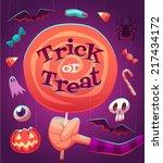 big lollipop. halloween poster  ... | Shutterstock .eps vector #217434172