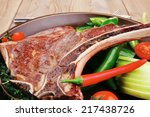 savory   roasted beef spare rib ... | Shutterstock . vector #217438726