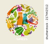 vector color spices and herbs... | Shutterstock .eps vector #217442512