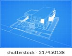 wireframe blueprint drawing of... | Shutterstock .eps vector #217450138