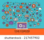 your computer. flat line icons... | Shutterstock .eps vector #217457902